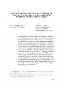 Neki problemi vezani uz uređenje elektroničkih prijevoznih isprava i poticanje elektroničke trgovine u Roterdamskim pravilima / Ivana Oršulić ; Božena Bulum