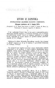 Izvodi iz zapisnika Jugoslavenske akademije znanosti i umjetnosti [1874]