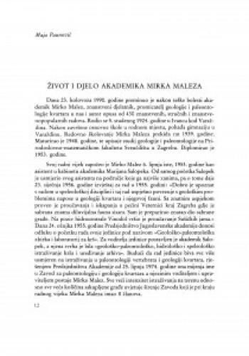 Život i djelo akademika Mirka Maleza