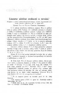 Linearne ništične srodnosti u ravnini / J. de Vries