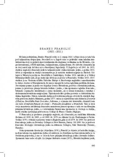 Branko Franolić (1925.-2011.) : [nekrolog] / August Kovačec
