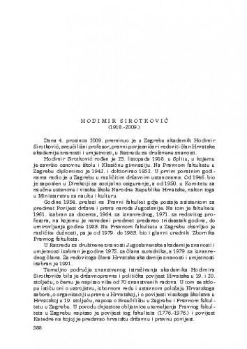 Hodimir Sirotković (1918.-2009.) : [nekrolog] / Tomislav Raukar