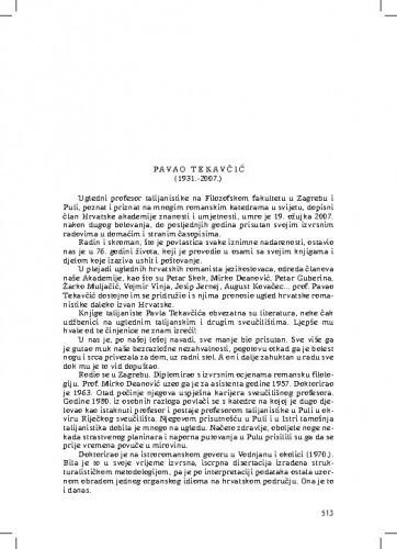 Pavao Tekavčić (1931.-2007.) : [nekrolog] / Petar Šimunović