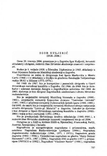 Igor Kuljerić (1938.-2006.) : [nekrolog] / Nikša Gligo