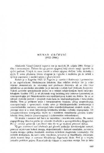 Nenad Grčević (1922.-2004.) : [nekrolog] / Jelena Krmpotić-Nemanić
