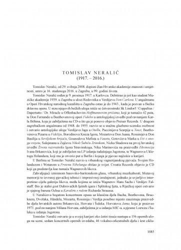 Tomislav Neralić (1917.-2016.) : [nekrolog] / Koraljka Kos