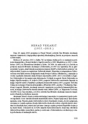 Nenad Vekarić (1955.-2018.) : [nekrolog] / Nella Lonza