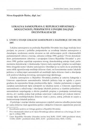 Lokalna samouprava u Republici Hrvatskoj - mogućnosti, perspektive i dvojbe daljnje decentralizacije : [strukturne zadaće] / Nives Kopajtich-Škrlec