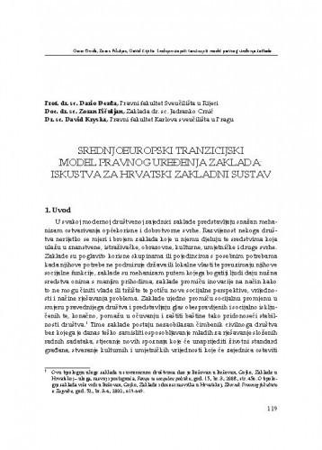 Srednjoeuropski tranzicijski model pravnog uređenja zaklada: iskustva za hrvatski zakladni sustav : [uvodno izlaganje] / Dario Đerđa, Zoran Pičuljan, David Kryska