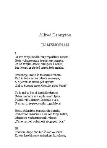 In memoriam / Alfred Tennyson; preveo [i bilješka o piscu] Mate Maras
