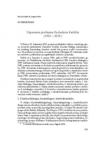 Uspomeni profesora Radoslava Katičića (1930. – 2019.) : in memoriam / Nataša Bašić