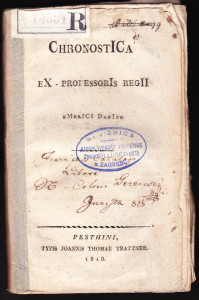 Chronostica / ex-professoris regii Emerici Danits