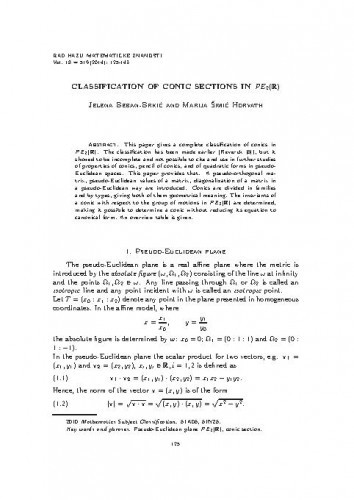 Classification of conic sections in PE_2(R) / Jelena Beban-Brkić, Marija Šimić Horvath