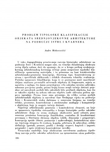 Problem tipološke klasifikacije objekata srednjovjekovne arhitekture na području Istre i Kvarnera / A. Mohorovičić