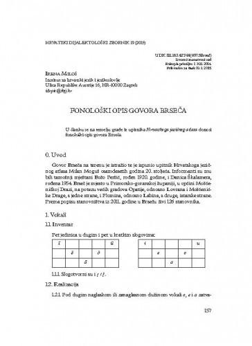 Fonološki opis govora Brseča / Irena Miloš