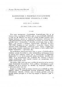 Karbonske i permske fuzilinidne foraminifere Velebita i Like / V. Kochansky-Devidé