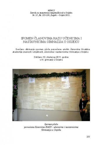 Spomen članovima HAZU učenicima i nastavnicima gimnazija u Osijeku