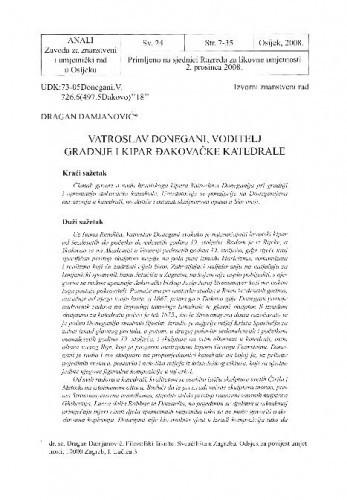 Vatroslav Donegani, voditelj gradnje i kipar đakovačke katedrale / Dragan Damjanović