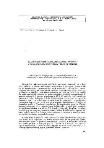 Lanosovićevi meteorološki zapisi i pojmovi u samostanskim kronikama i drugim djelima / I. Penzar, B. Penzar