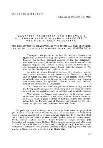 Manastir Orahovica kao duhovno i kulturno središte Srba u Slavoniji u vrijeme turske vladavine / Slobodan Mileusnić