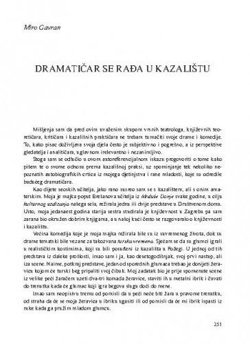 Dramatičar se rađa u kazalištu / Miro Gavran