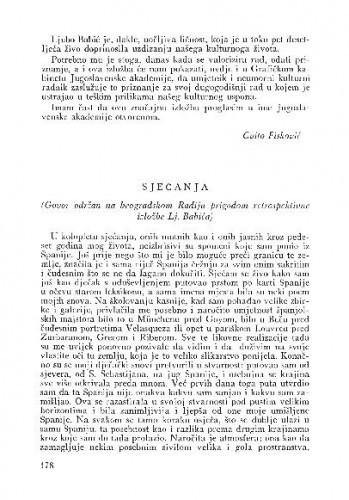 Sjećanja : govor održan na beogradskom Radiju prigodom retrospektivne izložbe Lj. Babića) / Lj. B.