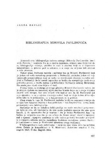 Bibliografija Mihovila Pavlinovića : Jakša Ravlić