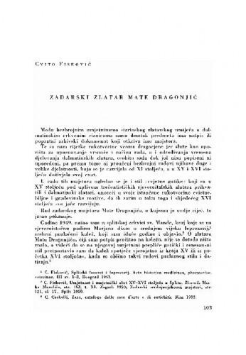 Zadarski zlatar Mate Dragonjić / Cvito Fisković