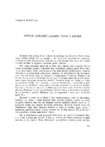 Petar Zoranić između Nina i Zadra / Jakša Ravlić