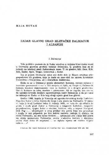 Zadar - glavni grad mletačke Dalmacije i Albanije / Maja Novak