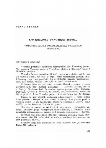 Melioracija Vranskog jezera : vodoprivredna problematika Vranskog područja / Frano Hekman