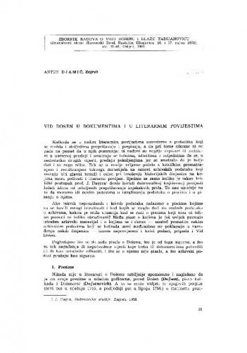 Vid Došen u dokumentima i literarnim povijestima / A. Djamić