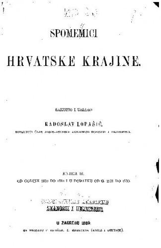 Knj. 3 : Od godine 1693 do 1780 i u Dodatku od g. 1531. do 1730 / sakupio i uredio Radoslav Lopašić