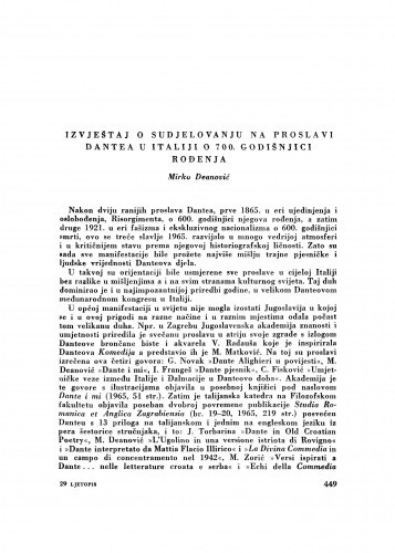 Izvještaj o sudjelovanju na proslavi Dantea u Italiji o 700. godišnjici rođenja / M. Deanović