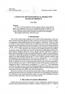 A note on the hypothetical projective plane of order 39 / Juraj Šiftar
