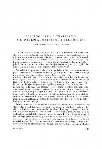 Biocenološka istraživanja u hidrološkom sistemu rijeke Rečine / I. Matoničkin i Z. Pavletić