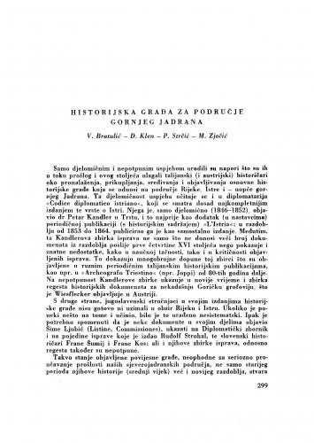 Historijska građa za područje gornjeg Jadrana / V. Bratulić, D. Klen, P. Strčić i M. Zjačić
