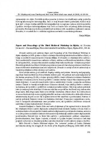 Papers and Proceedings of the Third Medieval Workshop in Rijeka, ur. Kosana Jovanović – Suzana Miljan, Filozofski fakultet Sveučilišta u Rijeci, Rijeka 2018. : [prikaz] / Monika Bereš