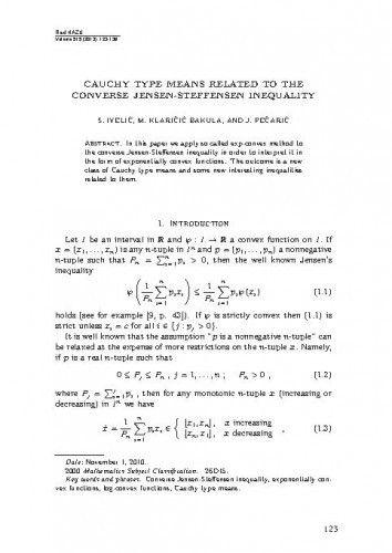 Cauchy type means related to the converse Jensen-Steffensen inequality