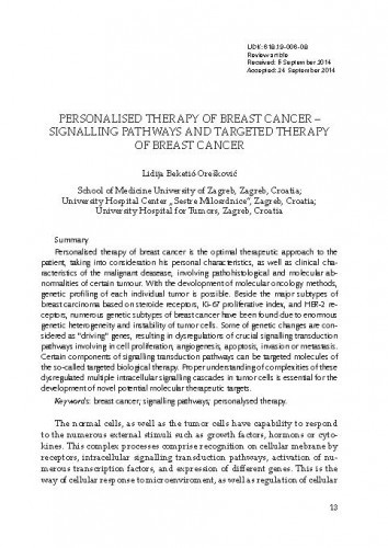 Personalised therapy of breast cancer - signalling pathways and targeted  therapy of breast cancer