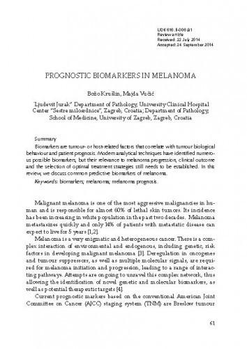 Prognostic biomarkers in melanoma
