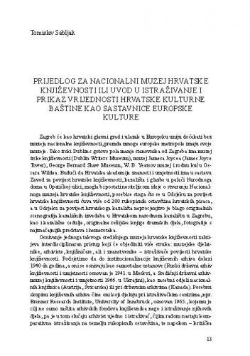Prijedlog za nacionalni muzej hrvatske književnosti ili uvod u istraživanje i prikaz vrijednosti hrvatske kulturne baštine kao sastavnice europske kulture / Tomislav Sabljak