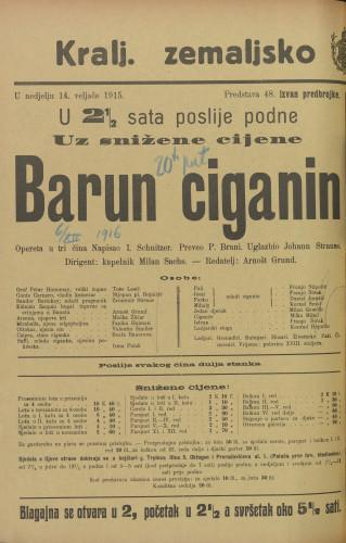 Barun Ciganin : Opereta u tri čina