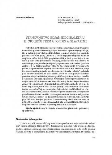 Stanovništvo Bosanskog ejaleta u 18. stoljeću prema popisima glavarine