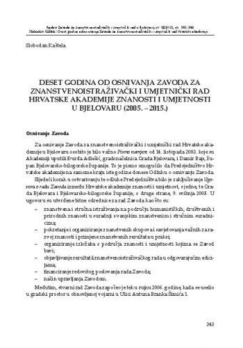 Deset godina od osnivanja Zavoda za znanstvenoistraživački i umjetnički rad Hrvatske akademije znanosti i umjetnosti u Bjelovaru (2005. - 2015.)