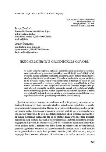 Jezične mijene u grobničkom govoru / Sanja Zubčić, Darja Šupljika