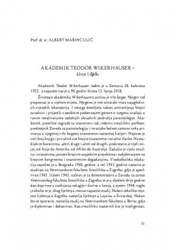Akademik Teodor Wikerhauser : život i djelo / Albert Marinculić