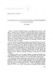 O nekim karakteristikama hipotermije u gladovanju / D. Timet