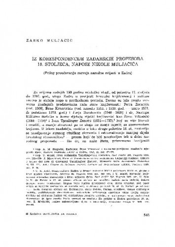Iz korespondencije zadarskih profesora 18. stoljeća, napose Nikole Muljačića : (prilog proučavanju razvoja narodne svijesti u Zadru) / Žarko Muljačić