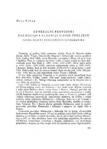 Generalni providuri Dalmacije i Albanije u XVIII. stoljeću : prema ocjeni neslužbenih suvremenika / Maja Novak